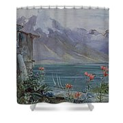 Lake Geneva Shower Curtain by John William Inchbold