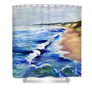 Lake Michigan Beach with Whitecaps Shower Curtain by Michelle Calkins