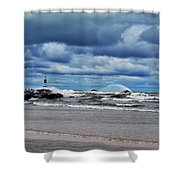 Lake Michigan with Big Wind  Shower Curtain by Michelle Calkins