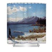 Lake Tahoe Shower Curtain by Albert Bierstadt