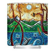 Land Of The Free Original Madart Painting Shower Curtain by Megan Duncanson