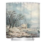 Landscape In Winter Shower Curtain by JJ Verreyt