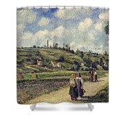 Landscape near Pontoise Shower Curtain by Camille Pissarro