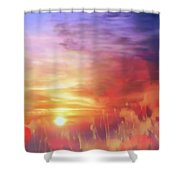 Landscape Of Dreaming Poppies Shower Curtain by Valerie Anne Kelly