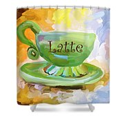 Latte Coffee Cup Shower Curtain by Jai Johnson