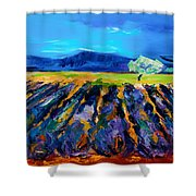 Lavender Field Shower Curtain by Elise Palmigiani
