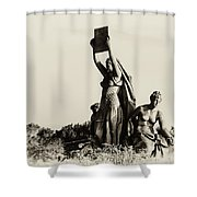 Law Prosperity and Power in Black and White Shower Curtain by Bill Cannon