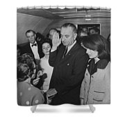 Lbj Taking The Oath On Air Force One Shower Curtain by War Is Hell Store