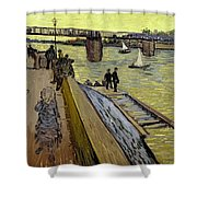 Le Pont De Trinquetaille In Arles Shower Curtain by Vincent Van Gogh