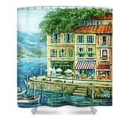 Le Port Shower Curtain by Marilyn Dunlap