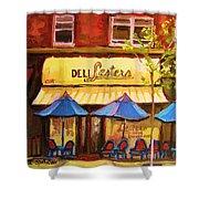 Lesters Cafe Shower Curtain by Carole Spandau