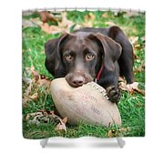 Let's Play Football Shower Curtain by Lori Deiter