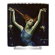 Libra From Zodiac Series Shower Curtain by Dorina  Costras