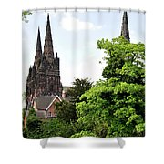 Lichfield Cathedral From Minster Pool Shower Curtain by Rod Johnson