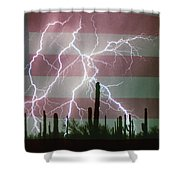 Lightning Storm In The Usa Desert Flag Background Shower Curtain by James BO  Insogna