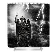 Lightning Strikes The Angel Gabriel Shower Curtain by Amanda And Christopher Elwell