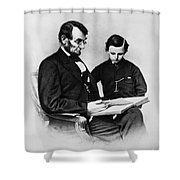 Lincoln Reading To His Son Shower Curtain by Photo Researchers