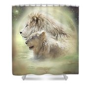 Lion Moon Shower Curtain by Carol Cavalaris