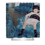 Little Girl in a Blue Armchair Shower Curtain by Mary Stevenson Cassatt