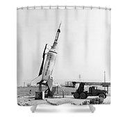 Little Joe On Launcher At Wallops Shower Curtain by Stocktrek Images