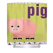 Little Pig Shower Curtain by Linda Woods