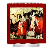 Little Red Riding Hood And The Big Bad Wolf Under A Yellow Moon Shower Curtain by Jeff Burgess