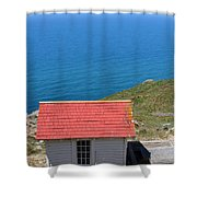 Little Shack At The Point Reyes Lighthouse in California . 7D16020 Shower Curtain by Wingsdomain Art and Photography