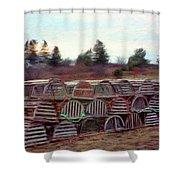 Lobster Traps Shower Curtain by Jeff Kolker