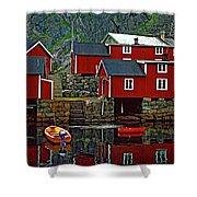 Lofoten Fishing Huts Oil Shower Curtain by Steve Harrington