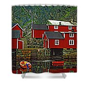 Lofoten Fishing Huts Shower Curtain by Steve Harrington