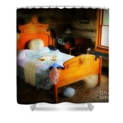 Log Cabin Bedroom Shower Curtain by Perry Webster