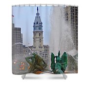 Logan Circle Fountain With City Hall In Backround 2 Shower Curtain by Bill Cannon