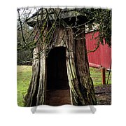 Loggers Outhouse Shower Curtain by Clayton Bruster