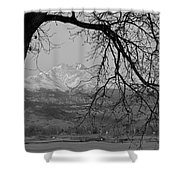 Longs Peak And Mt. Meeker The Twin Peaks Black And White Photo I Shower Curtain by James BO  Insogna
