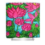Lotus Bliss Shower Curtain by Lisa  Lorenz