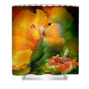 Love Among The Hibiscus Shower Curtain by Carol Cavalaris