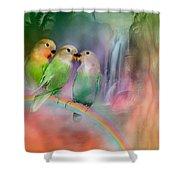 Love On A Rainbow Shower Curtain by Carol Cavalaris