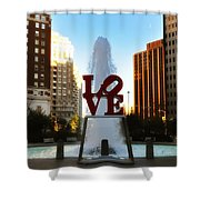 Love Park - Love Conquers All Shower Curtain by Bill Cannon