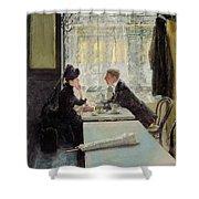 Lovers In A Cafe Shower Curtain by Gotthardt Johann Kuehl