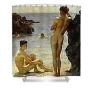 Lovers Of The Sun Shower Curtain by Henry Scott Tuke