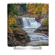 Lower Falls In Autumn Shower Curtain by Rick Berk