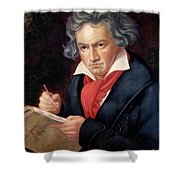 Ludwig Van Beethoven Composing His Missa Solemnis Shower Curtain by Joseph Carl Stieler