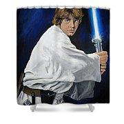 Luke Skywalker Shower Curtain by Tom Carlton