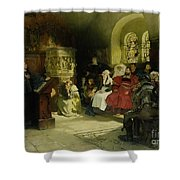 Luther Preaches using his Bible Translation while Imprisoned at Wartburg Shower Curtain by Hugo Vogel
