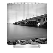 Macarthur Bridge To Belle Isle Detroit Michigan Shower Curtain by Gordon Dean II