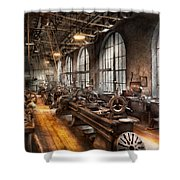 Machinist - A Room Full Of Lathes  Shower Curtain by Mike Savad