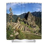 Machu Picchu And Bromeliad Shower Curtain by James Brunker