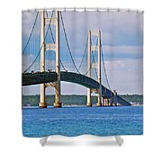 Mackinac Bridge Shower Curtain by Michael Peychich