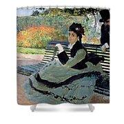 Madame Monet On A Garden Bench Shower Curtain by Claude Monet