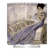 Madame Monet On A Sofa Shower Curtain by Pierre Auguste Renoir